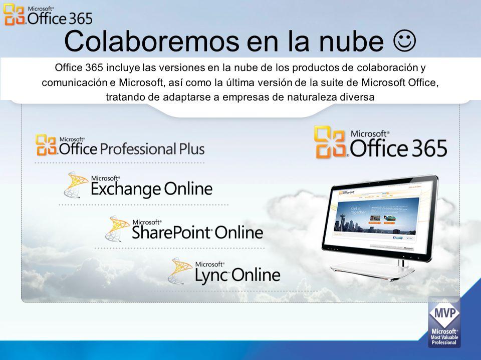 Colaboremos en la nube Office 365 incluye las versiones en la nube de los productos de colaboración y comunicación e Microsoft, así como la última ver