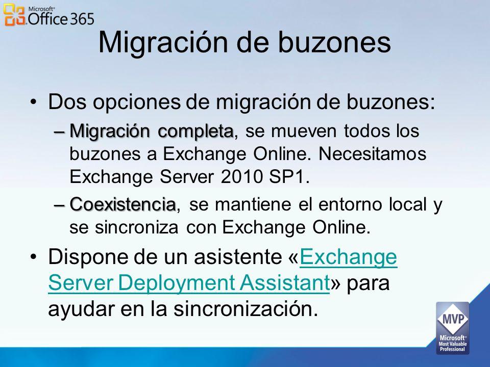 Migración de buzones Dos opciones de migración de buzones: –Migración completa –Migración completa, se mueven todos los buzones a Exchange Online. Nec
