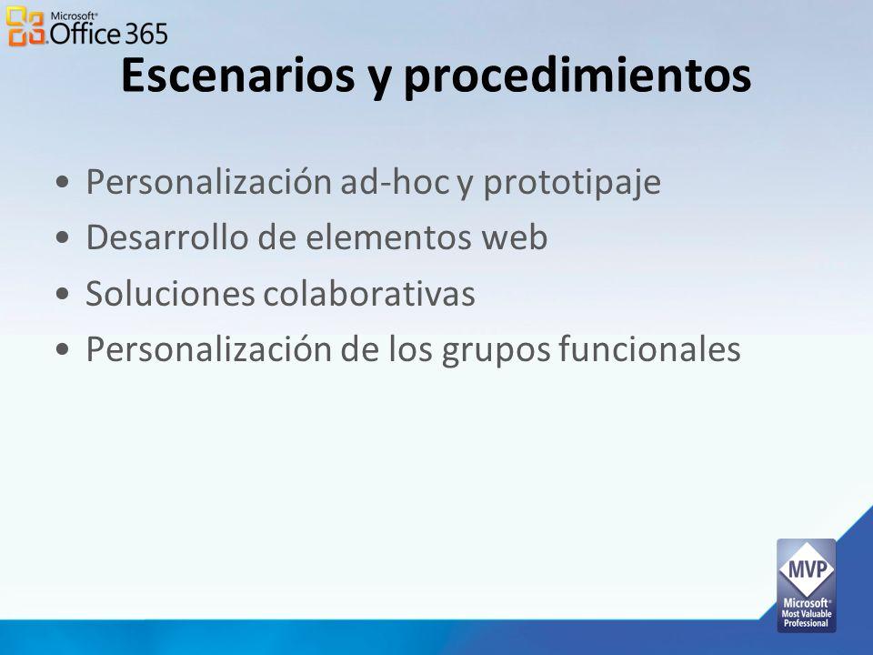 Escenarios y procedimientos Personalización ad-hoc y prototipaje Desarrollo de elementos web Soluciones colaborativas Personalización de los grupos fu