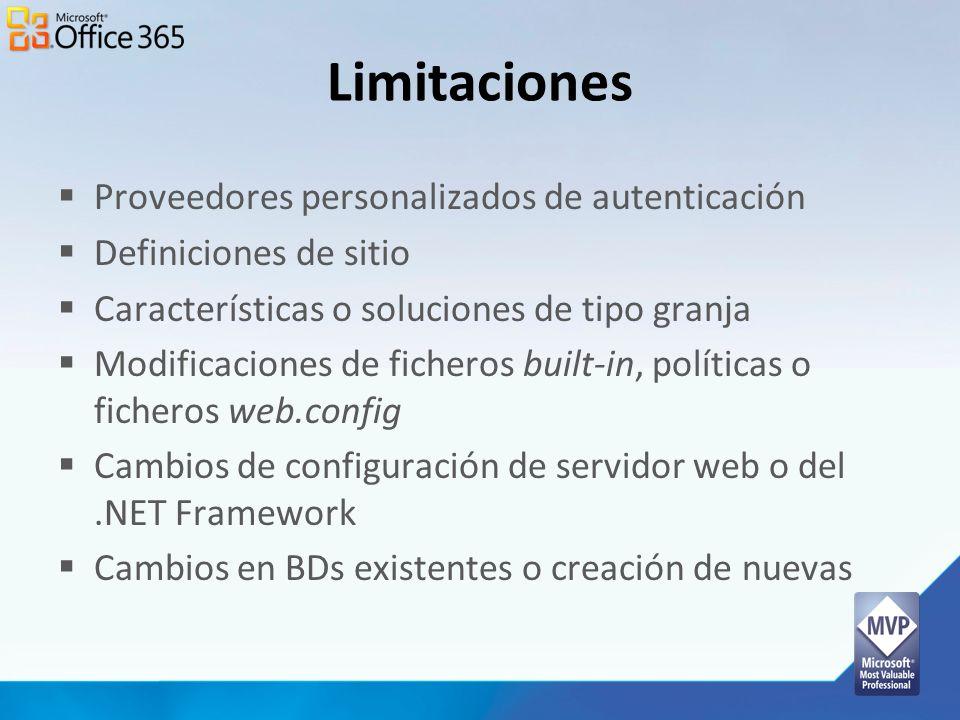 Limitaciones Proveedores personalizados de autenticación Definiciones de sitio Características o soluciones de tipo granja Modificaciones de ficheros