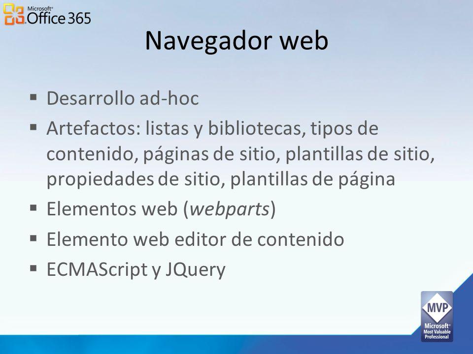 Navegador web Desarrollo ad-hoc Artefactos: listas y bibliotecas, tipos de contenido, páginas de sitio, plantillas de sitio, propiedades de sitio, pla