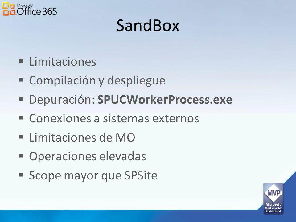 SandBox Limitaciones Compilación y despliegue Depuración: SPUCWorkerProcess.exe Conexiones a sistemas externos Limitaciones de MO Operaciones elevadas