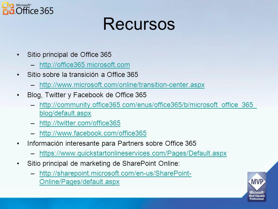 Recursos Sitio principal de Office 365 –http://office365.microsoft.comhttp://office365.microsoft.com Sitio sobre la transición a Office 365 –http://ww