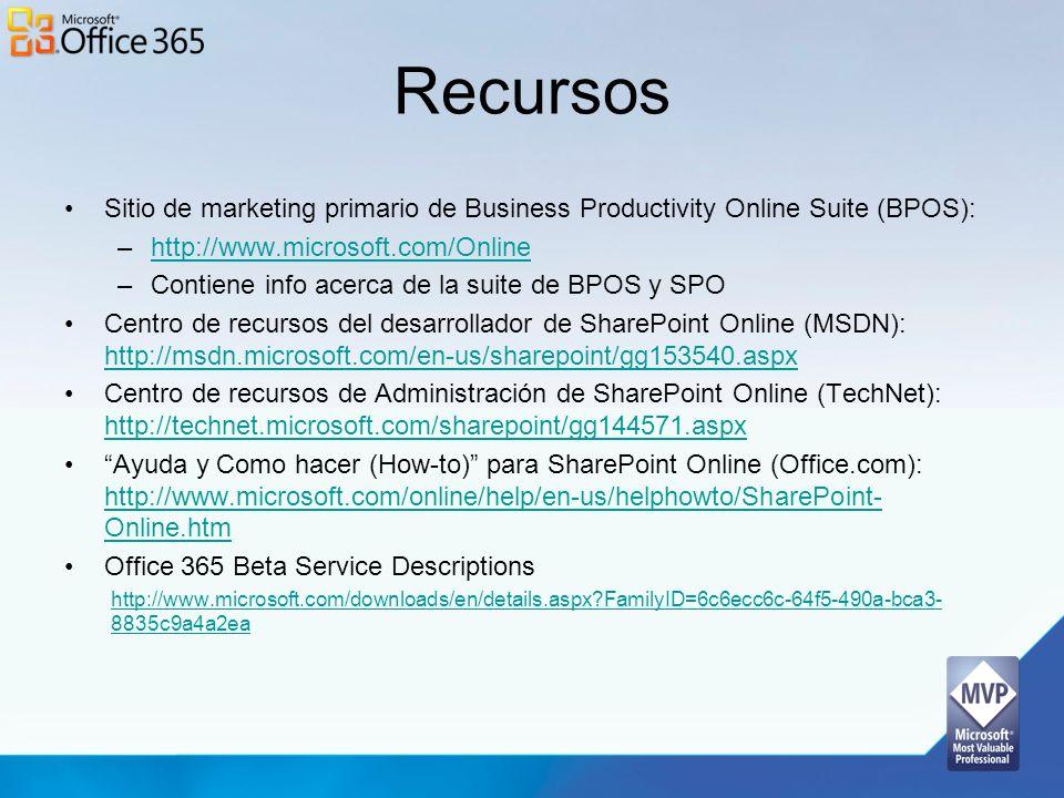 Recursos Sitio de marketing primario de Business Productivity Online Suite (BPOS): –http://www.microsoft.com/Onlinehttp://www.microsoft.com/Online –Co