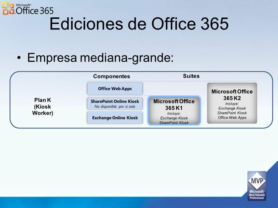 Ediciones de Office 365 Empresa mediana-grande: