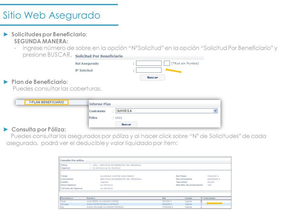 Sitio Web Asegurado Solicitudes por Beneficiario : SEGUNDA MANERA: -Ingrese número de sobre en la opción N°Solicitud en la opción Solicitud Por Benefi