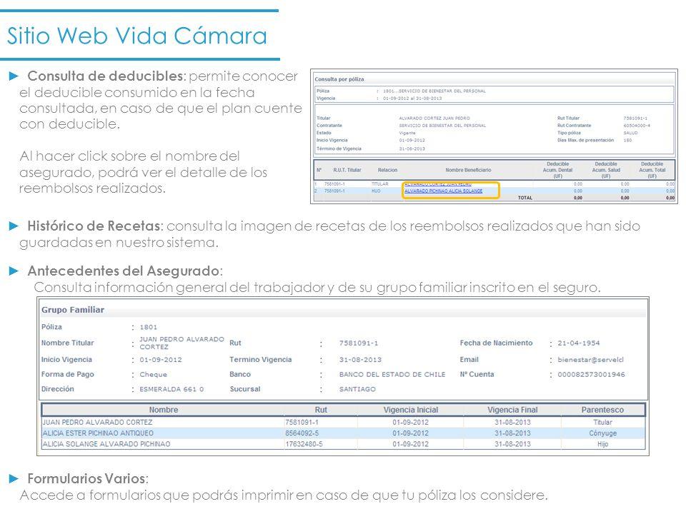 Reembolso en Línea : ´si eres afiliado a Isapre Consalud, Cruz Blanca o Colmena podrás reembolsar tus bonos ambulatorios en el sitio web de Vida Cámara.