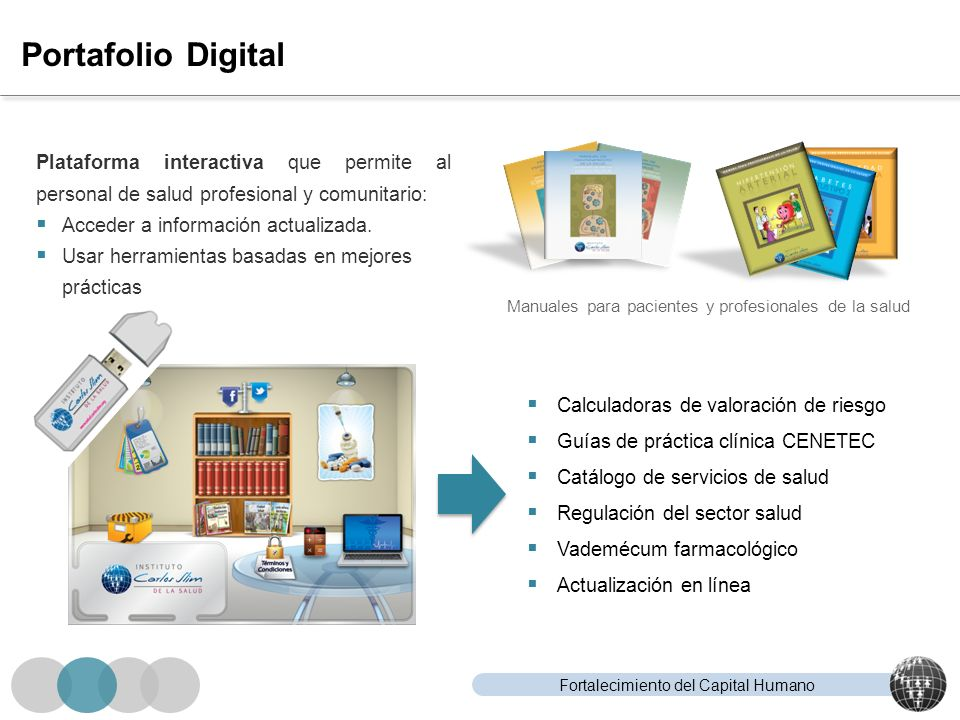 Fortalecimiento del Capital Humano Portafolio Digital Calculadoras de valoración de riesgo Guías de práctica clínica CENETEC Catálogo de servicios de