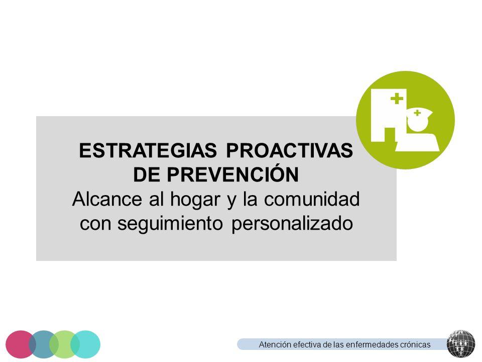 Atención efectiva de las enfermedades crónicas ESTRATEGIAS PROACTIVAS DE PREVENCIÓN Alcance al hogar y la comunidad con seguimiento personalizado