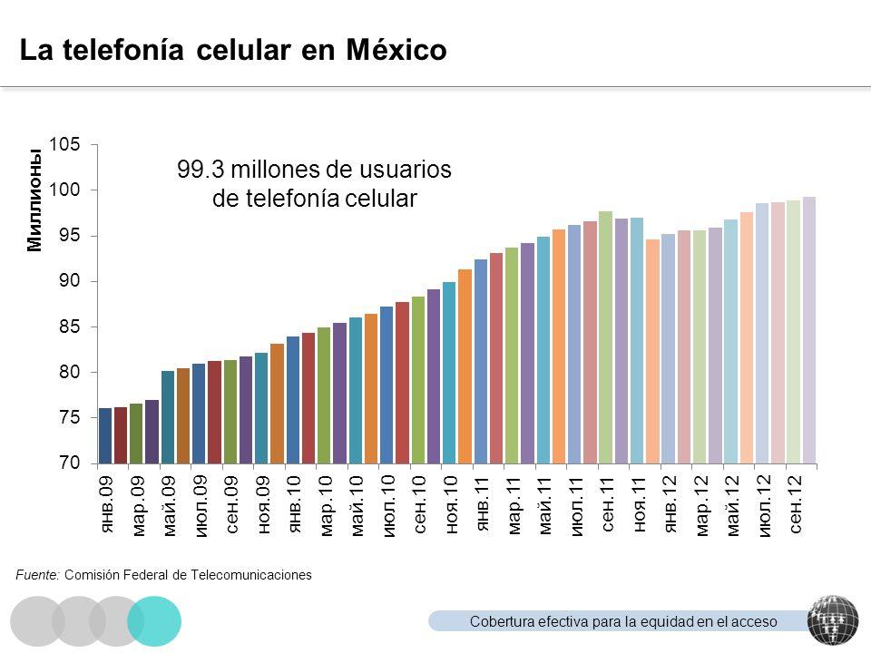 Cobertura efectiva para la equidad en el acceso La telefonía celular en México 99.3 millones de usuarios de telefonía celular Fuente: Comisión Federal