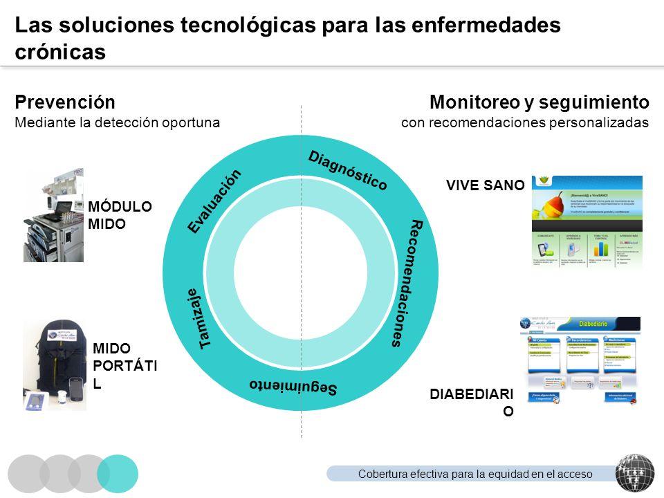 Cobertura efectiva para la equidad en el acceso Las soluciones tecnológicas para las enfermedades crónicas Monitoreo y seguimiento con recomendaciones
