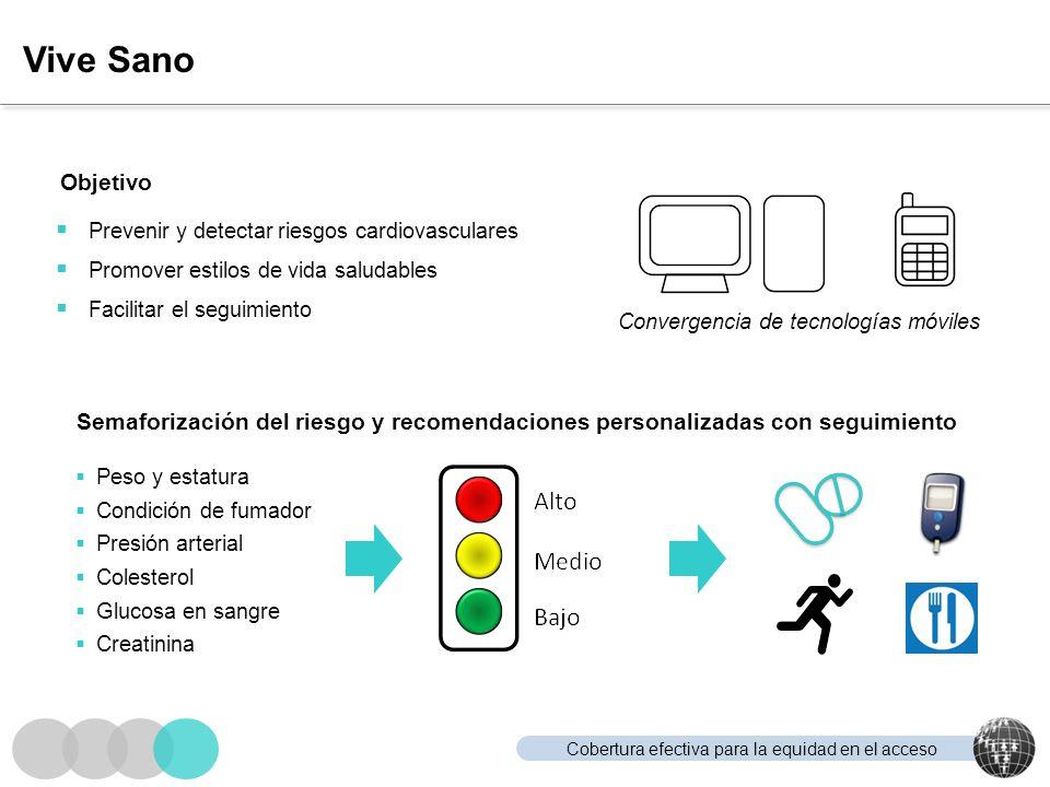 Cobertura efectiva para la equidad en el acceso Vive Sano Prevenir y detectar riesgos cardiovasculares Promover estilos de vida saludables Facilitar e