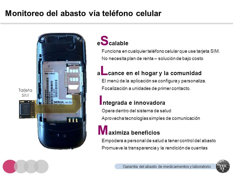 Garantía del abasto de medicamentos y laboratorio Monitoreo del abasto vía teléfono celular Tarjeta SIM e S calable Funciona en cualquier teléfono cel