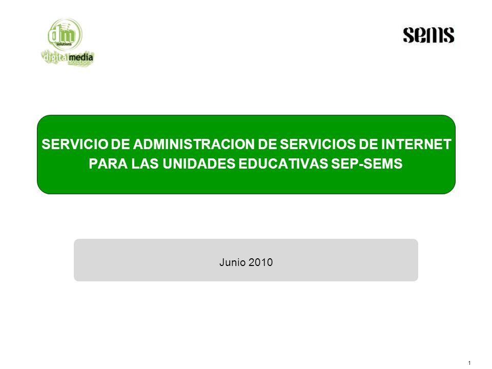 1 SERVICIO DE ADMINISTRACION DE SERVICIOS DE INTERNET PARA LAS UNIDADES EDUCATIVAS SEP-SEMS Junio 2010