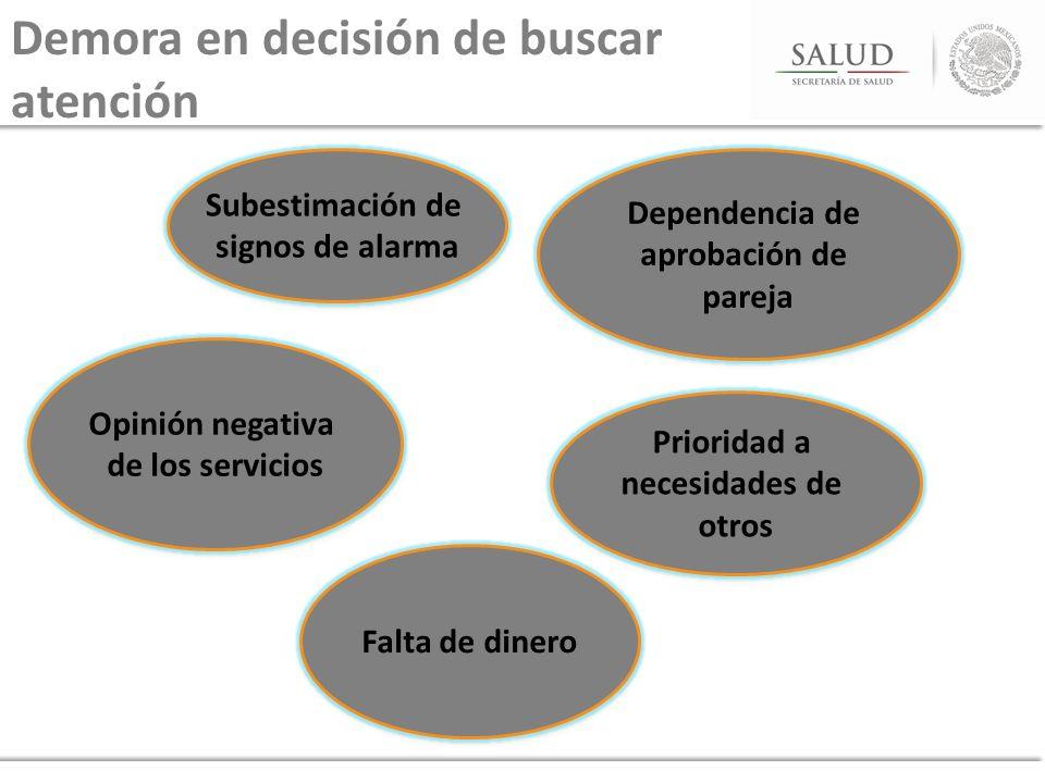 Demora en decisión de buscar atención Subestimación de signos de alarma Subestimación de signos de alarma Prioridad a necesidades de otros Prioridad a