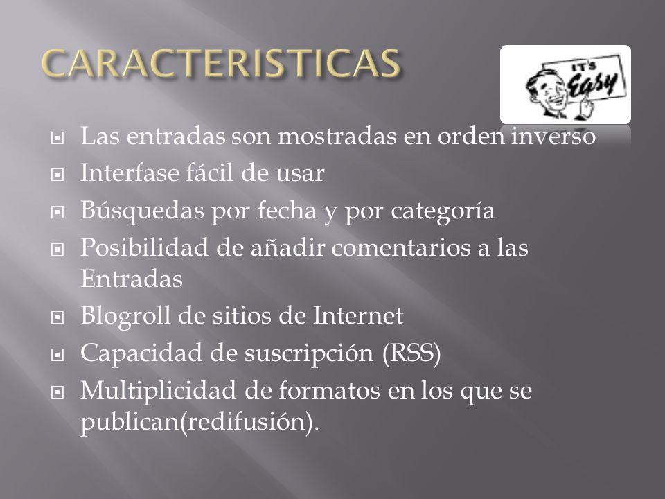Las entradas son mostradas en orden inverso Interfase fácil de usar Búsquedas por fecha y por categoría Posibilidad de añadir comentarios a las Entradas Blogroll de sitios de Internet Capacidad de suscripción (RSS) Multiplicidad de formatos en los que se publican(redifusión).