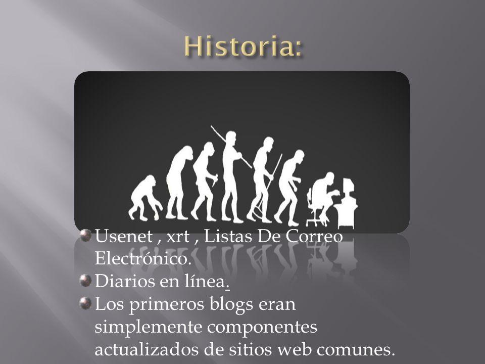 Usenet, xrt, Listas De Correo Electrónico. Diarios en línea.