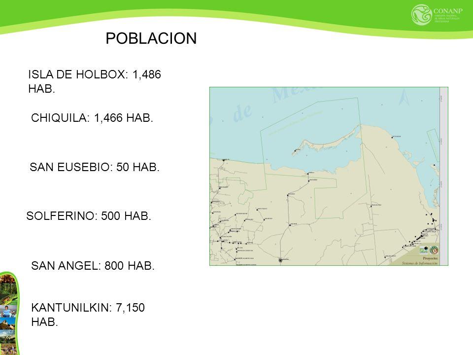POBLACION ISLA DE HOLBOX: 1,486 HAB. CHIQUILA: 1,466 HAB. SAN EUSEBIO: 50 HAB. SOLFERINO: 500 HAB. SAN ANGEL: 800 HAB. KANTUNILKIN: 7,150 HAB.