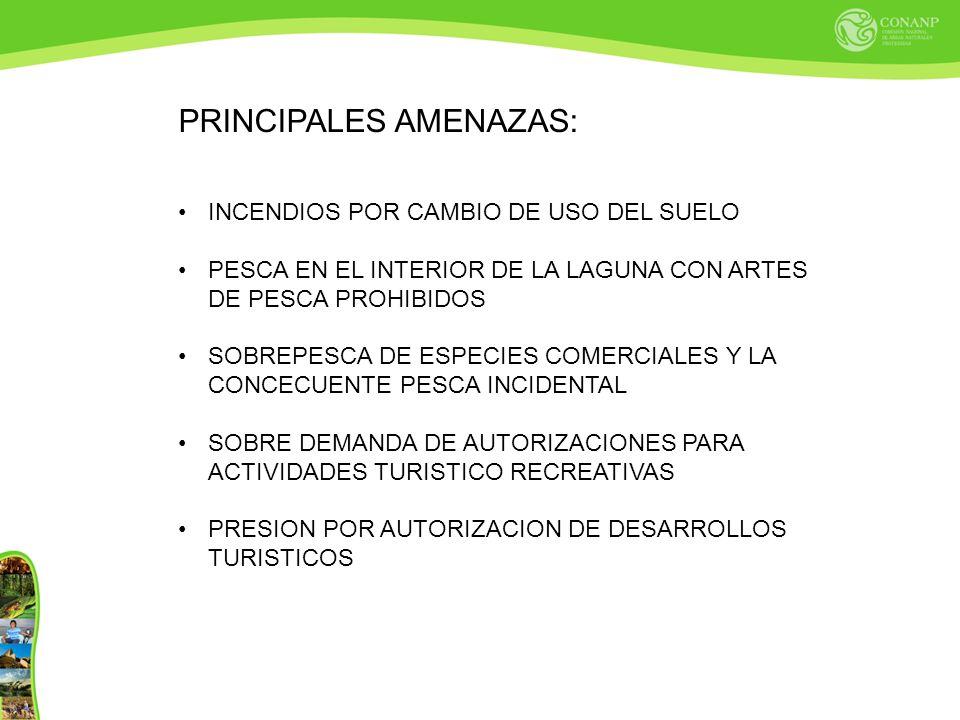 PRINCIPALES AMENAZAS: INCENDIOS POR CAMBIO DE USO DEL SUELO PESCA EN EL INTERIOR DE LA LAGUNA CON ARTES DE PESCA PROHIBIDOS SOBREPESCA DE ESPECIES COMERCIALES Y LA CONCECUENTE PESCA INCIDENTAL SOBRE DEMANDA DE AUTORIZACIONES PARA ACTIVIDADES TURISTICO RECREATIVAS PRESION POR AUTORIZACION DE DESARROLLOS TURISTICOS