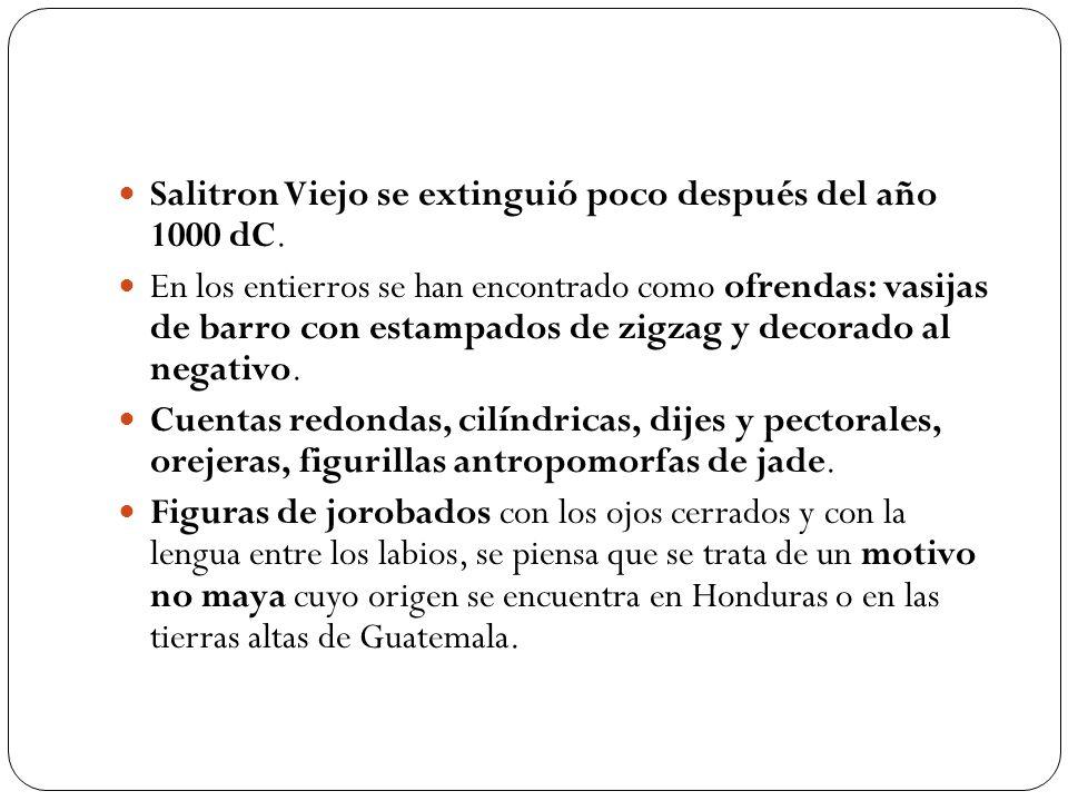 Salitron Viejo se extinguió poco después del año 1000 dC. En los entierros se han encontrado como ofrendas: vasijas de barro con estampados de zigzag