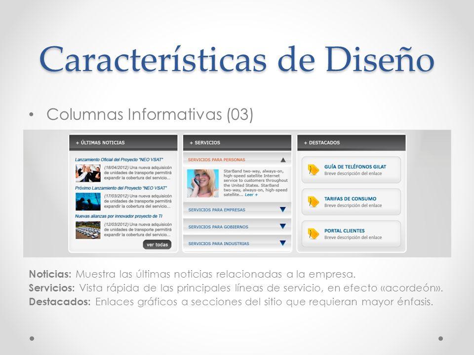 Columnas Informativas (03) Noticias: Muestra las últimas noticias relacionadas a la empresa. Servicios: Vista rápida de las principales líneas de serv