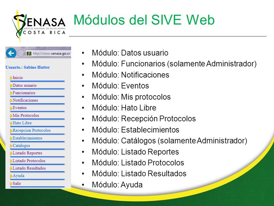 Módulos del SIVE Web Módulo: Datos usuario Módulo: Funcionarios (solamente Administrador) Módulo: Notificaciones Módulo: Eventos Módulo: Mis protocolos Módulo: Hato Libre Módulo: Recepción Protocolos Módulo: Establecimientos Módulo: Catálogos (solamente Administrador) Módulo: Listado Reportes Módulo: Listado Protocolos Módulo: Listado Resultados Módulo: Ayuda