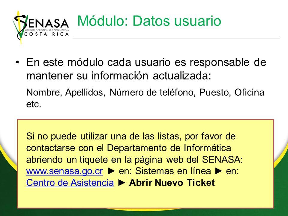 Módulo: Datos usuario En este módulo cada usuario es responsable de mantener su información actualizada: Nombre, Apellidos, Número de teléfono, Puesto, Oficina etc.