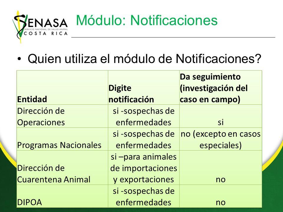 Módulo: Notificaciones Quien utiliza el módulo de Notificaciones?