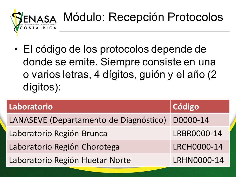 Módulo: Recepción Protocolos El código de los protocolos depende de donde se emite.