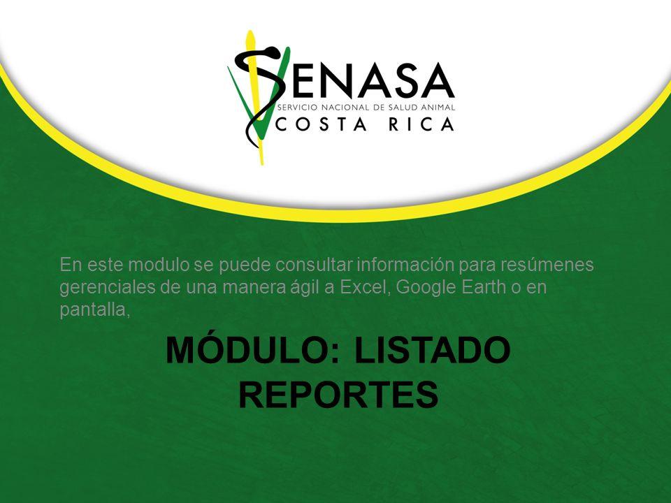 MÓDULO: LISTADO REPORTES En este modulo se puede consultar información para resúmenes gerenciales de una manera ágil a Excel, Google Earth o en pantalla,
