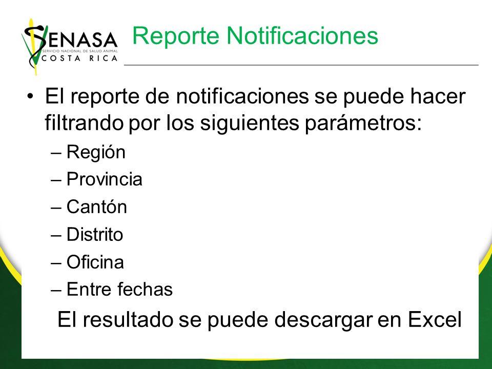 Reporte Notificaciones El reporte de notificaciones se puede hacer filtrando por los siguientes parámetros: –Región –Provincia –Cantón –Distrito –Oficina –Entre fechas El resultado se puede descargar en Excel