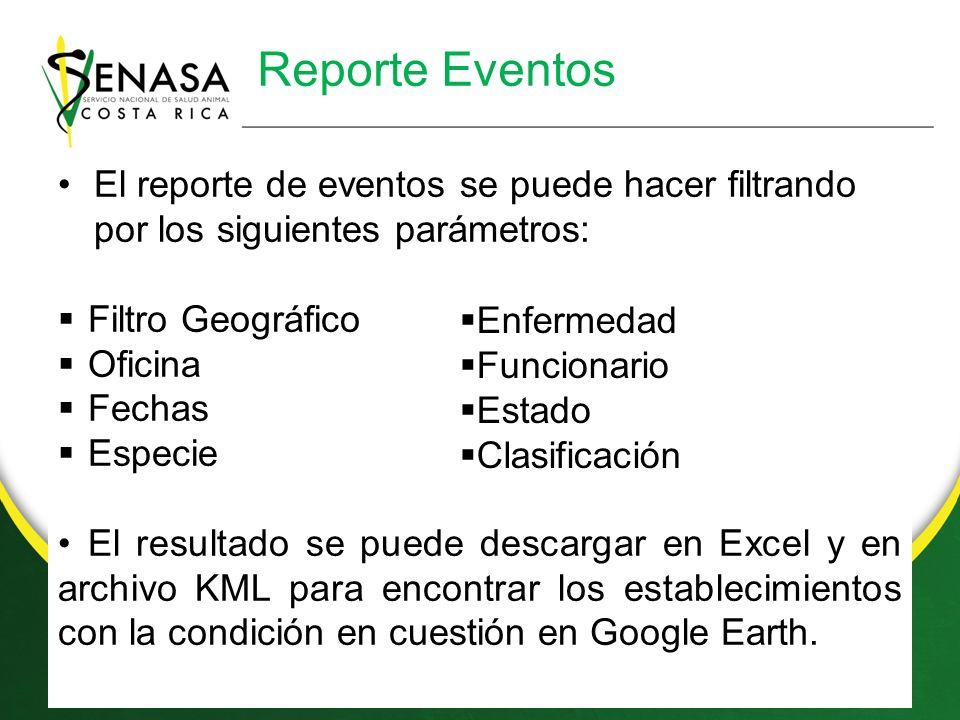 Reporte Eventos El reporte de eventos se puede hacer filtrando por los siguientes parámetros: Filtro Geográfico Oficina Fechas Especie El resultado se puede descargar en Excel y en archivo KML para encontrar los establecimientos con la condición en cuestión en Google Earth.