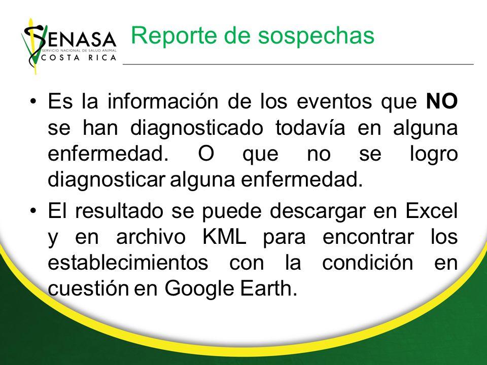 Reporte de sospechas Es la información de los eventos que NO se han diagnosticado todavía en alguna enfermedad.