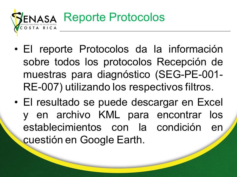 Reporte Protocolos El reporte Protocolos da la información sobre todos los protocolos Recepción de muestras para diagnóstico (SEG-PE-001- RE-007) utilizando los respectivos filtros.