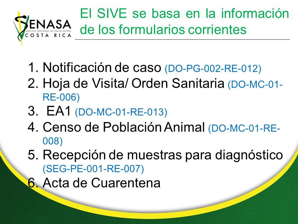 El SIVE se basa en la información de los formularios corrientes 1.Notificación de caso (DO-PG-002-RE-012) 2.Hoja de Visita/ Orden Sanitaria (DO-MC-01- RE-006) 3.