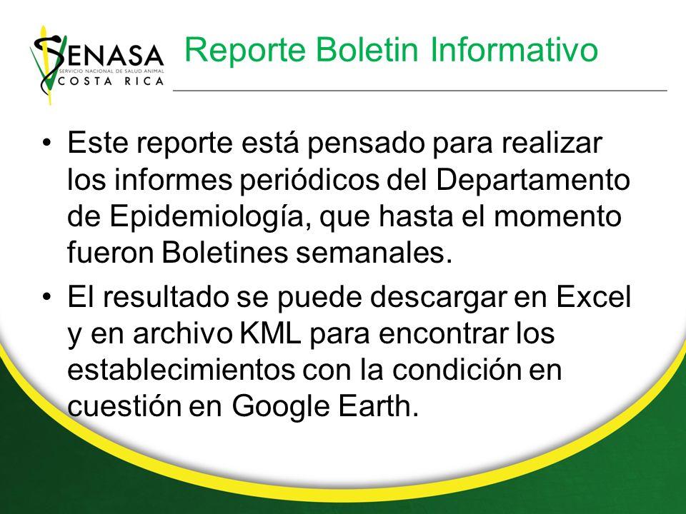 Reporte Boletin Informativo Este reporte está pensado para realizar los informes periódicos del Departamento de Epidemiología, que hasta el momento fueron Boletines semanales.