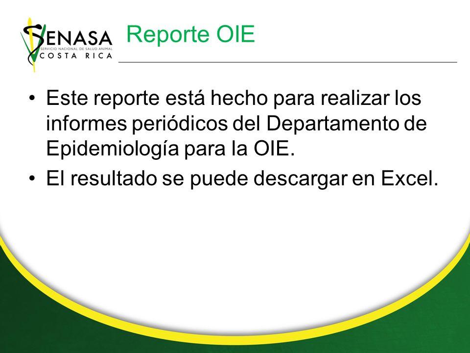 Reporte OIE Este reporte está hecho para realizar los informes periódicos del Departamento de Epidemiología para la OIE.