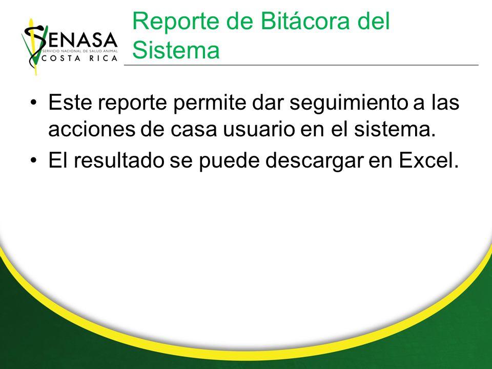 Reporte de Bitácora del Sistema Este reporte permite dar seguimiento a las acciones de casa usuario en el sistema.