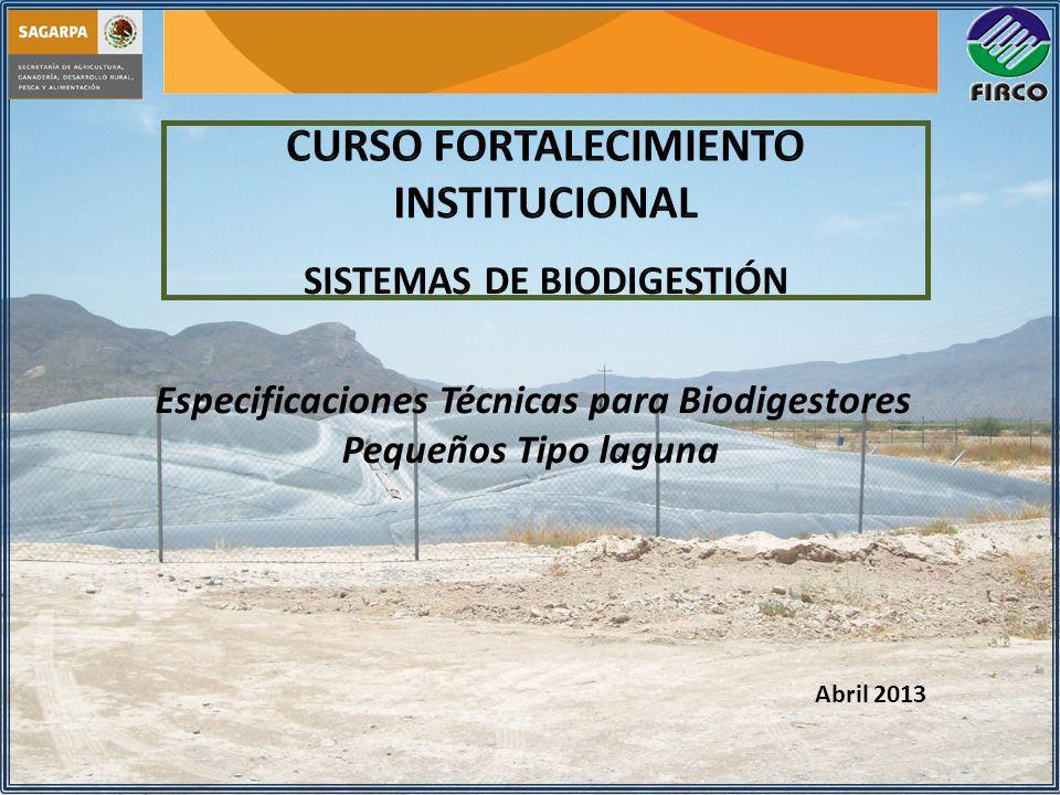 Especificaciones Técnicas para Biodigestores Pequeños Tipo laguna Abril 2013