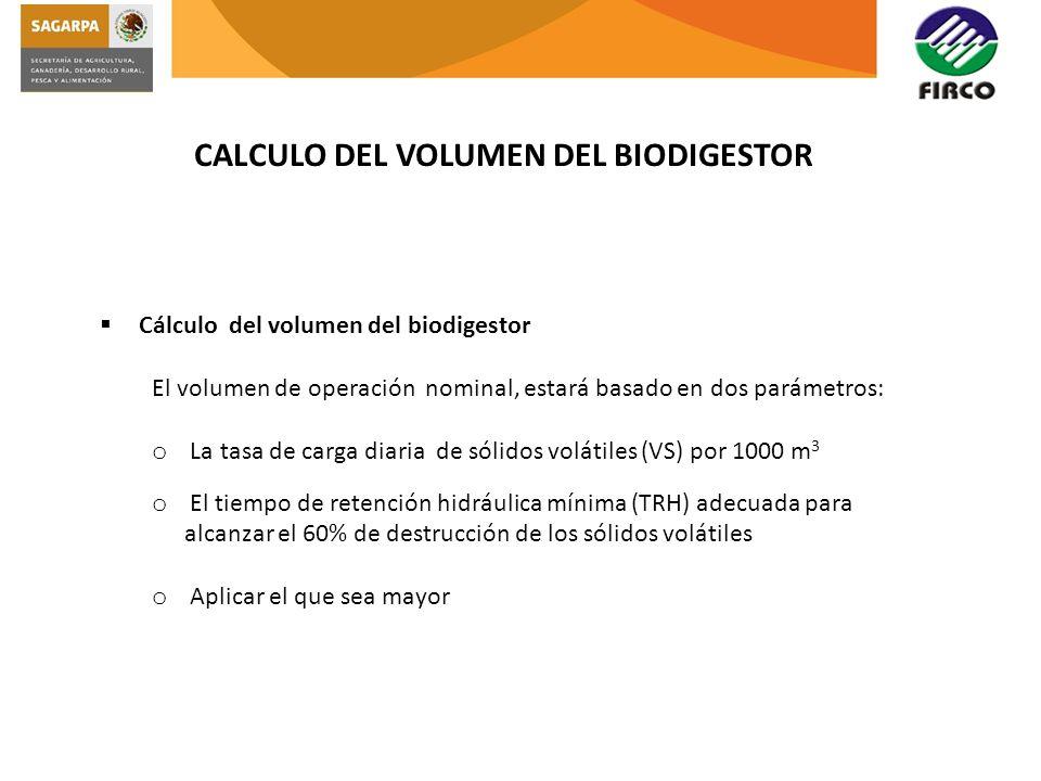 CALCULO DEL VOLUMEN DEL BIODIGESTOR Cálculo del volumen del biodigestor El volumen de operación nominal, estará basado en dos parámetros: o La tasa de