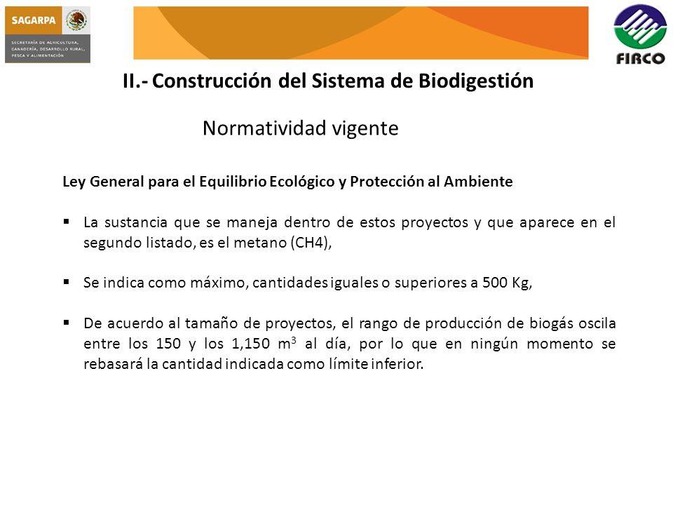 II.- Construcción del Sistema de Biodigestión Normatividad vigente Ley General para el Equilibrio Ecológico y Protección al Ambiente La sustancia que