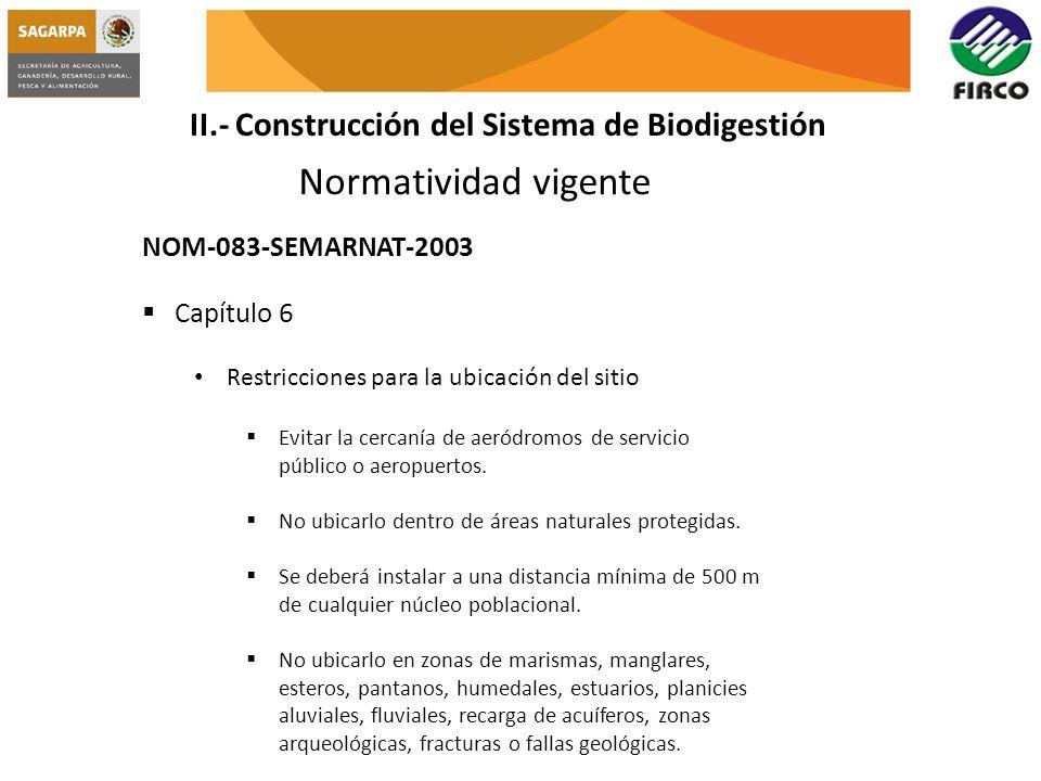 II.- Construcción del Sistema de Biodigestión Normatividad vigente NOM-083-SEMARNAT-2003 Capítulo 6 Restricciones para la ubicación del sitio Evitar l