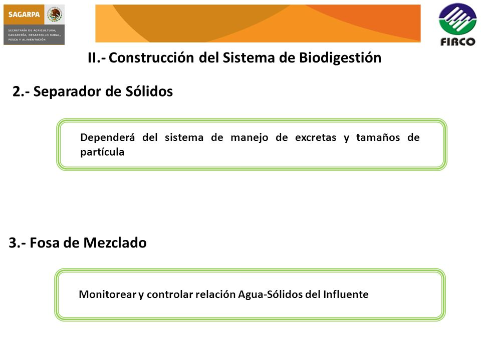 II.- Construcción del Sistema de Biodigestión 2.- Separador de Sólidos Dependerá del sistema de manejo de excretas y tamaños de partícula 3.- Fosa de