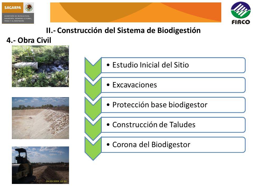 II.- Construcción del Sistema de Biodigestión 4.- Obra Civil Estudio Inicial del SitioExcavacionesProtección base biodigestorConstrucción de TaludesCo