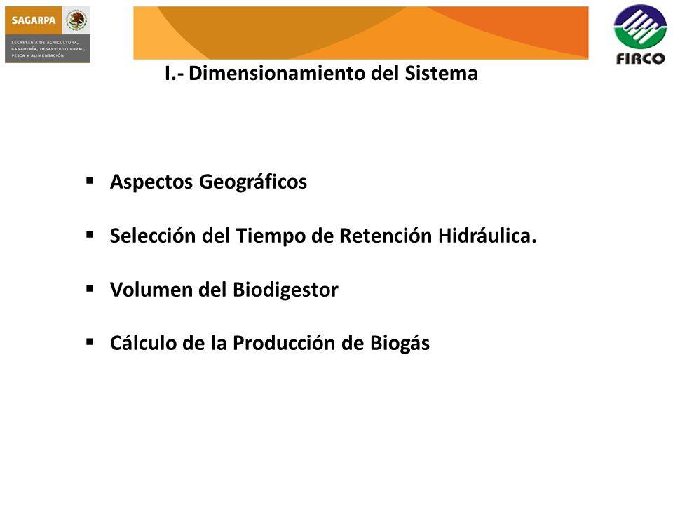 I.- Dimensionamiento del Sistema Aspectos Geográficos Selección del Tiempo de Retención Hidráulica. Volumen del Biodigestor Cálculo de la Producción d