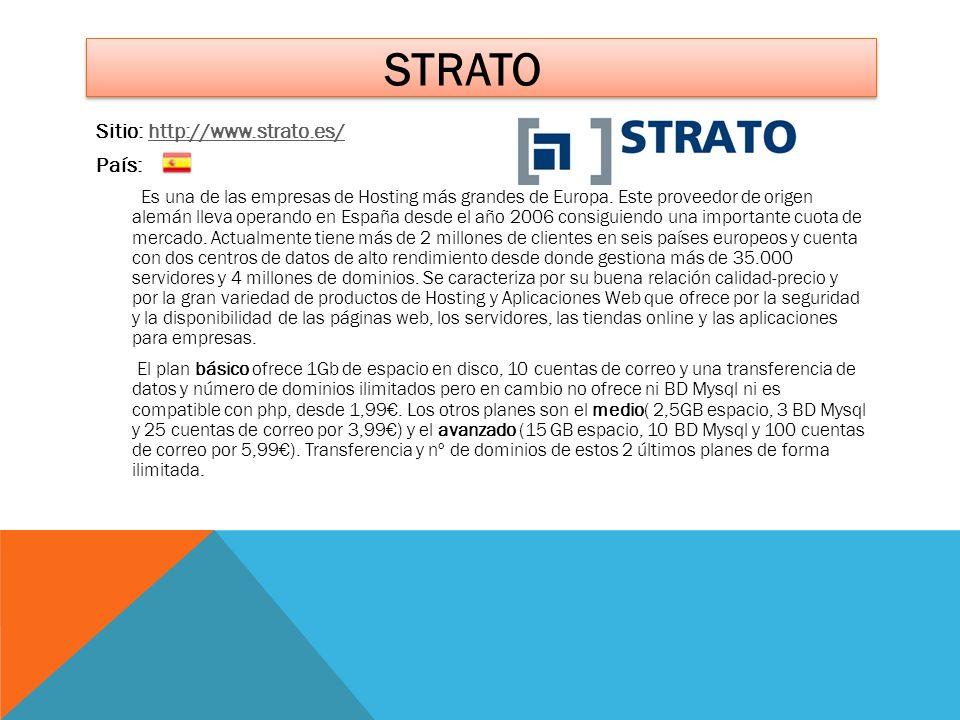 STRATO Sitio: http://www.strato.es/http://www.strato.es/ País: Es una de las empresas de Hosting más grandes de Europa. Este proveedor de origen alemá