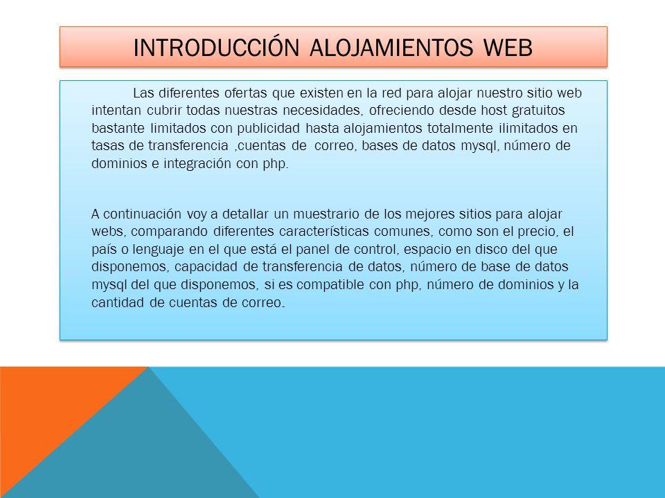 INTRODUCCIÓN ALOJAMIENTOS WEB Las diferentes ofertas que existen en la red para alojar nuestro sitio web intentan cubrir todas nuestras necesidades, o