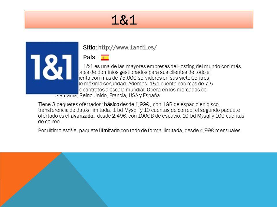 1&1 Sitio: http://www.1and1.es/http://www.1and1.es/ País: 1&1 es una de las mayores empresas de Hosting del mundo con más de 10 millones de dominios g