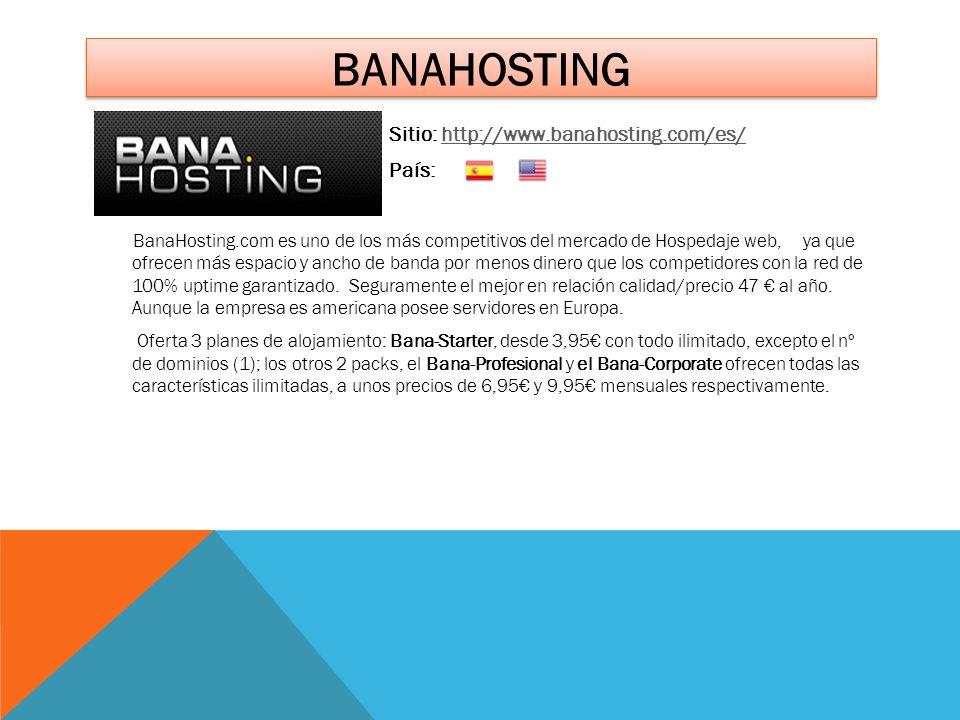 BANAHOSTING Sitio: http://www.banahosting.com/es/http://www.banahosting.com/es/ País: BanaHosting.com es uno de los más competitivos del mercado de Ho