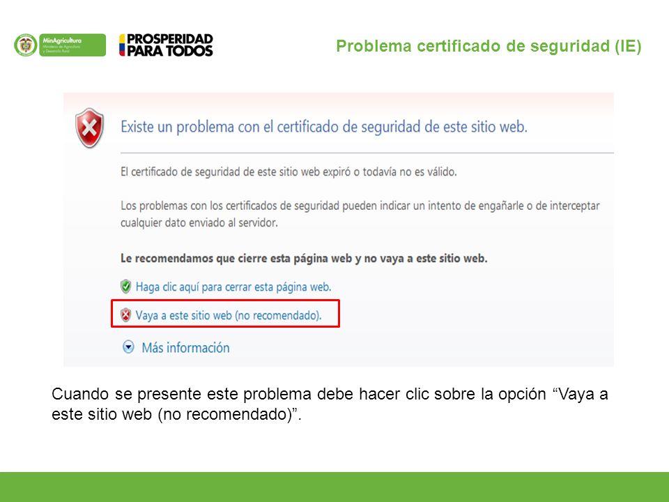 Cuando se presente este problema debe hacer clic sobre la opción Vaya a este sitio web (no recomendado).